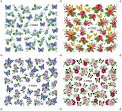 KADS Nail sticker Manicure applique DIY watermark stickers water transfer decals flower pattern texture-1 Pack 4 design