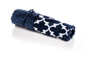 Elonka Nichole Baby Boy Original Mimi Receiving Blanket, Navy Lattice
