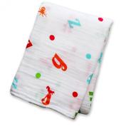 Lulujo Baby Muslin Cotton Swaddling Blanket, Vegetable Soup, 120cm x 120cm