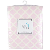 Ben & Noah Fitted Flannel Crib Sheet- Pink Lattice
