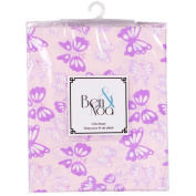 Ben & Noah Fitted Crib Sheet- Pink Butterflys
