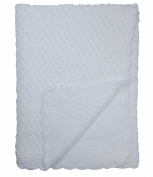 Baby Fancy Christening White Hand Crochet 100% Cotton Shawl/Blanket 90cm x 80cm