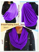 BayB Brand 3-in-1 Nursing Cover Up, Baby Sling & Scarf - Purple