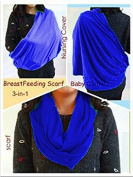 BayB Brand 3-in-1 Nursing Cover Up, Baby Sling & Scarf - Dark Blue