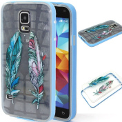 BLT® S5 Case, Galaxy S5 Colourful Feather Design Case, Slim Soft Tpu with Hard Edge Cover for for Samsung Galaxy S5 I9600, Screen Protector and Dust-absorber As Gift,