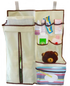 Nursery & Nappy Organiser - DURABLE Lightweight Material with hook and loop Straps and Hanging Loops - More than just a Nappy Caddy, stacker or Depot and Perfect for your Changing Station or Closet to keep close to Crib. Store Nappies, Baby Wipes, Lotions
