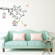 Decowall, DW-1510,Birds on Tree Branch with Bird Cages,Wall Stickers,Vinyl,decal,mural,tattoos,Children
