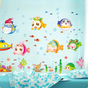 Zytree(TM)Wall Sticke Cartoon Cute Underwater World Fish Bubble Stickers Decor Mural DIY Kid's Child Room Decal Home Decoration Wallpaper