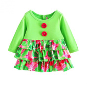 Baby Girls' Layered Green Floral Long Sleeve Dresses