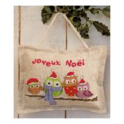 Owlets in Santa Hats Mini Pillow Cross Stitch Kit