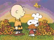 Peanuts Charlie Brown and Snoopy Thanksgiving Turkey Counted Cross Stitch Pattern