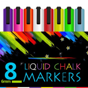 Atalanta® Colour Liquid Chalk Marker Pens-8 Packs Premium Quality Bright Neon Pens with Unique Reversible Tip, Safe for Kids, Teachers, Fall Designs, Stencil Use, Artist, Crafters