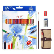 48 Piece Artist Grade High Quality Watercolour Water Soluble Coloured Pencil Set with Free Pencil Holder,sharpener, Eraser & Blending Brush