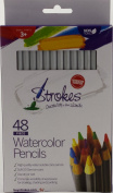 Strokes Art 48 Piece Artist Grade High Quality Watercolour Water Soluble Coloured Pencil Set, Soft German Core