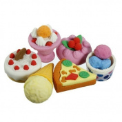 1 Pack of Cute 3D Pizza Ice cream Eraser Rubber Pencil Set Stationery Kids Gift