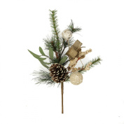 GSC Christmas pine spray with pine cone, burlap balls and ribbin