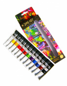 Acrylic Paint Set - Premium Quality For Artists, Adults, Kids, Beginners Who Love Acrylic Painting. For Use on Canvas, Paper, Fabric, Wood & Nail Art. 12 X 12ml Acrylic Paint Non Toxic Supreme Texture