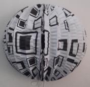 Square Geometric Design Black & White Round Paper Lanterns