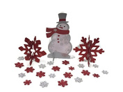 Holiday Time Snowman and Snowflake Centrepiece with Snowflake Confetti