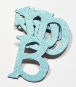 Light Blue Glitter HandCut 3.8cm Chipboard Uppercase Letters Alphabet set 60 pcs Stickers Baby Boy Theme