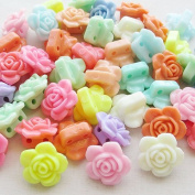Chenkou Craft Multi Colour 3D Acrylic Rose Flowers Beads with Straight Hole 14mm 40pcs