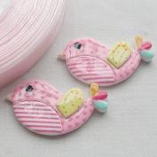 Chenkou Craft Pink Bird Resin Flatbacks Buttons Sewing Craft Lots Mix Appliques 20pcs
