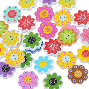 Multicolor Flower Wooden Buttons Crafts Scrapbooking 2 Holes botones decorativos 20*19mm Random Mixed 250PCs