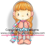 Swiss Pixie Cling Stamp 7.6cm x 4.4cm -Lucy With Scarf