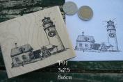 P91 Light house scene rubber stamp Cap Cod