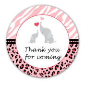 40 Stickers Gift Favour Label Pink Elephants Jungle Zebra Leopard Girl Baby Shower