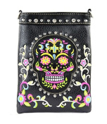 Montana West Sugar Skull 4-Way Womens Clutch Crossbody American Bling Purse Black
