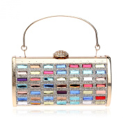 Afibi Womens Vintage Coloured Rhinestones Envelope Evening Cocktail Party Handbag