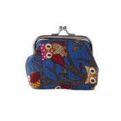 megko Lovely Owl Print Canvas Buckle Coin Purses Girls Women's Coin Card Bag Small Size