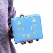 GBSELL New Fashion Women Kitty Cat Embroidery Leather Wallet Button Clutch Purse Lady Short Handbag Bag