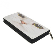 White Kitty Cat Face Animal Print PU Leather Zip Around Wallet