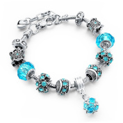 Long Way Blue Beads Carved Bracelet Sliver Plated Snake Chain Charm Strand Bracelet For Women & Men