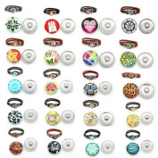 Souarts Mixed Random Snap Button Jewellery Charms Without Bracelet 18mm Pack of 10pcs