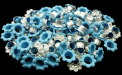 100pcs Aluminium Blue Flowers EYELETS Scrapbooking CARD Hole LeatherCraft Snap Punch E065