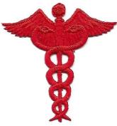 MEDICAL PROFESSION, RED CADUCEUS/Iron On Embroidered Applique/Nurse, Medic