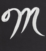 "SCRIPT LETTERS - White Script Letter ""M"" - Iron On Embroidered Applique"