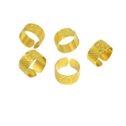 Water & Wood 5 Pcs 21mm Diameter Gold Tone Metal Ring Reeded Thimble for Tailoring Sewing