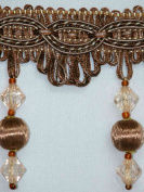 10cm Uniquely Classy Handmade Tassel Fringe Trim Hardwood Balls and Sparkling Faceted Beads Brown Per Yard - T1236