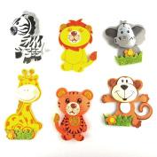 Safari Animals Foam Cutouts Decor, 6-pairs, Small
