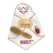 Rhoost Baby Grooming Kit - Natural Wooden Brush & Comb, Natural Bristles, Easy to Use Nail Clipper, Organic Cotton Bib Washcloth