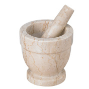 Creative Home Champagne Marble Mortar & Pestle, 12cm x 12cm , Beige