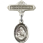 Sterling Silver Baby Badge with St. Madonna Del Ghisallo Charm and Godchild Badge Pin 2.5cm X 1.6cm