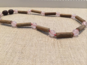 Eczema, Colic, Reflux, GERD Raw Pink Quartz Rose Hazelwood 28cm Necklace for babies baby infant toddler bub for Gut issues; heartburn, and ulcers. Gluten sensitive