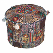Indian Pouffe Stool Vintage Patchwork Embellished With Patchwork Living Room Ottoman Cover, 46cm X 33cm