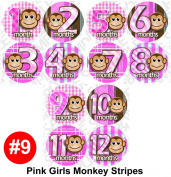 Milestone Stickers - 12 Stickers, PINK MONKEY STRIPE Onesie Stickers Baby Shower Gift Photo Shower Stickers, Baby month stickers photo props by OnesieStickers