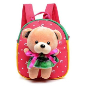 PW Surplus Child's Favourite Plush Mini Backpack With Teddy Bear Doll Perfect for Kindergarten, Sleep overs, Includes Orthopaedic Design For Ages 1-5, In Delightful